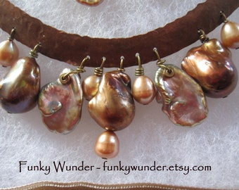Pearl and copper necklace and earring set