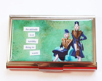 Business Card Case, Funny Card Case, Humor, Funny Business Card Case, Card case, business card holder, Attitude, Green (3005)
