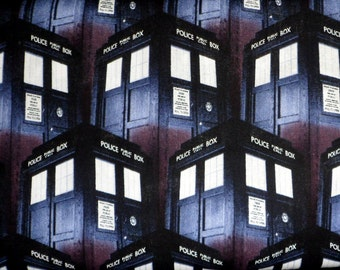 Dr Who Fabric Police Call Box Fabric Cotton Fabric  Call Box Novelty Fabric Packed Tardis Sewing Material Quilting Material Craft Supply