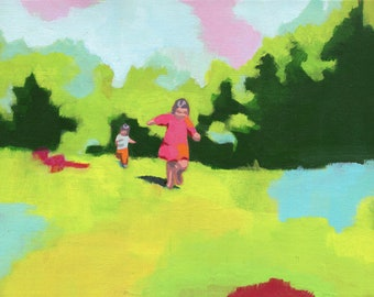 Free - art print reproduction of painting | girl children kids running park grass landscape | nursery room decor baby girl shower