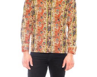 1960s Men's Paisley Printed Cotton Shirt