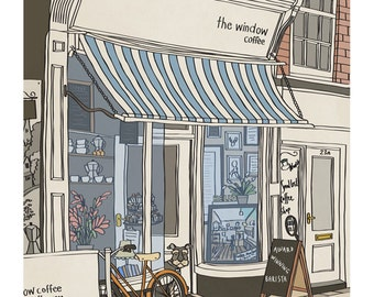 Coffee Shop - Illustration Art Print