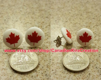 Maple Leaf Perler Bead Earrings - Canada Day - Canada 150 - Canadian Pride