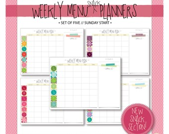 Weekly Menu & Snack Planner with Shopping List // Sunday Start