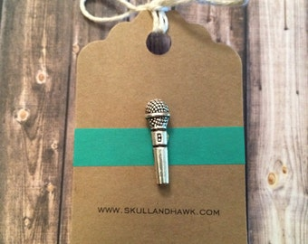 Microphone Lapel Pin / Tie Tack - Silver Tone - Silver Microphone Pin - Mic - Singer Gift - Musician - Music - Public Speaking