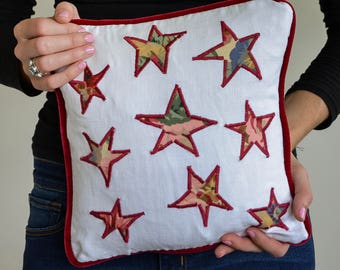 "Shabby chic floral stars pillow 12"" /30cm square with luxe, burgundy velvet piping 
