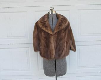 1950s vintage mink fur wrap, real fur, vintage fur, medium brown fur shawl, fur stole, capelet