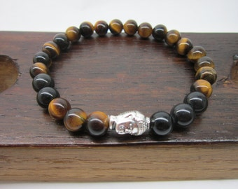 Buddha Bracelet Mens Third Eye Chakra Bracelet Silver Buddha Men Bracelet Tiger Eye Buddha Mala Men Energy Bracelet Protection Bracelet Mala