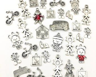 bulk ,30 back to school charms mix,silver tone and enamel, 11mm to 35mm   #CH 009