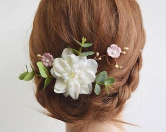 Ivory & Gold Pip Bridal Flower Clip, eucalyptus clip, bridal hair accessory, bridal headpiece, bridal floral clip, bridesmaid hair clip