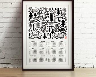 2018 Wall calendar -Forest animals - 2018 calendar - wild life calendar - woodland calendar - A3, A2 calendar - 2018 calendar print