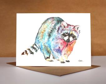 Watercolour Raccoon Card ~ watercolour greetings card, watercolour card, raccoon greetings card, birthday card, raccoon art, animal art