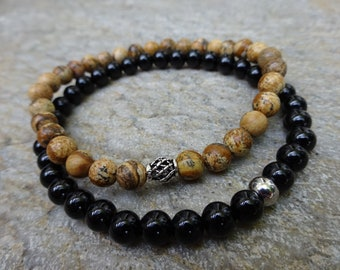 Set of 2 - Men's Women's Picture Jasper & Black Onyx Gemstone Stretch Bead beaded Stack Stacking Bracelet Silver Bead