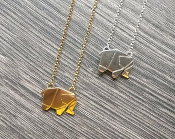 Elephant Necklace, Origami Necklace, Elephant Jewelry, Animal Jewelry, Elephant lover, African Safary Gift, Good luck gift, Graduation gift