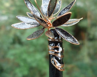 black lotus flower hair stick