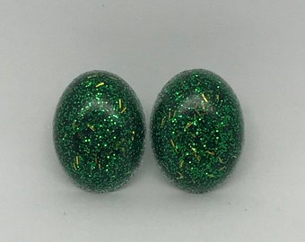 Green with gold specks glitter studs