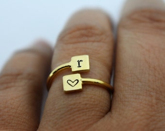 Personalized Hand Stamped Wrap Ring - Initials - Gift for Her - Mother's Day Gift- Gift for Mom - Anniversary Gift
