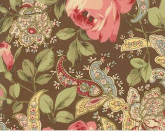 Large Rose and Paisley on Chocolate.. Roses Chocolate II by Moda Fabrics 33270-15