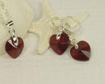 Valentine's Gift Red Crystal Heart Pendant Earrings Set Swarowski Crystal Jewelry Sterlling Silver jewelry