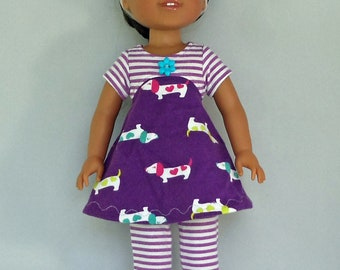 Stripes and Dogs Mini Tunic Doll Dress and Leggings Handmade To Fit 14.5 Inch Dolls Like Wellie Wishers