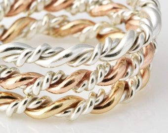 Stacking Rings, Rose Gold Twist Ring, Gold Stack Ring, Rose Ring, Twisted Ring, Stacked Rings, Thumb Ring, Braided Ring, Gift For Her