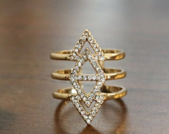 Boho Chic Chevron Ring ~ Gold ~ Open Back~ Adjustable ~ Modern ~ Everyday Wear ~ Triangles ~ Perfect Gift~ Gift Box~ Triple Ring ~ Sparkle!