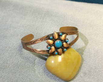 Vintage Bell Copper and Turquoise Cuff Bracelet – Southwest Jewelry- Turquoise Jewelry – Route 66 – Vintage Jewelry – Bell Trading Post