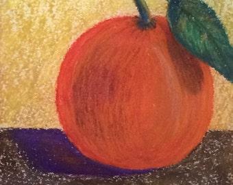 """Single orange pastel drawing art 9""""x12"""""""
