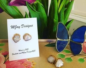 Hand sculpted opal stud earrings