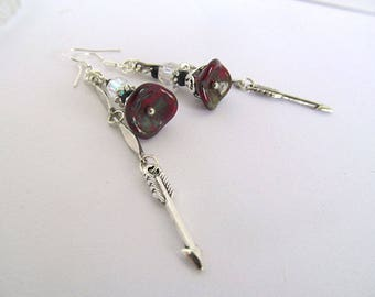 Silver Arrow Earrings, Red Flower Earrings, Long Dangle Earrings, Boho Chic, Bohemian Jewelry, Glass Bead Earrings, Artisan Earrings