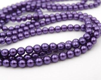 Czech Glass 4mm Druk Beads Pearlized Purple  50 Pieces
