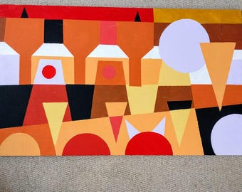 Colourful geometric abstract painting on wooden board