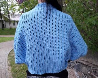 Women's bolero. Crochet bolero. Women's shrug. Blue bolero. Handmade women's bolero. Evening shrug. Women's gift. Elegant bolero.