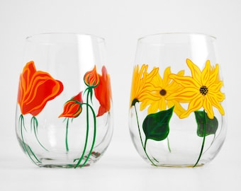 Sunflower and Poppy Stemless Wine Glasses - Hand Painted Wine Glasses - Mothers Day Gift - Set of 2 Stemless Glasses, Sunflower Wine Glass
