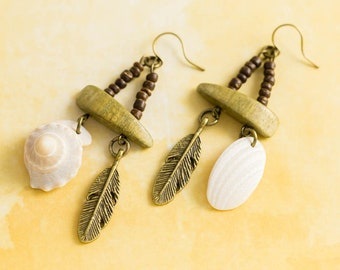 Earthy Hippie Shell and Feather Earrings with Olive Green Vintage Wood Beads, Edisto Beach and Outer Banks Shell Earrings, Beach Jewelry