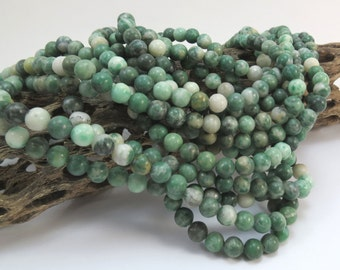 "Ching Hai ""Jade"" Beads, Natural 6mm Green Beads, 16 inch Strand, 6mm Green Beads, Beading Supplies, Item 1013pm"