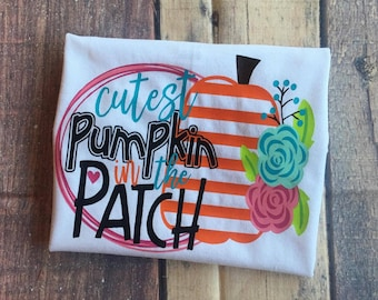 Cutest Pumpkin In the Patch Girl's Halloween Shirt Toddler's Halloween Party Shirt Infant Halloween Outfit Kids Trick or Treating Shirt