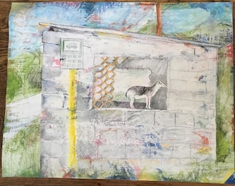 """Original Mixed-Media Drawing -- 16x20"""" -- Goat in a Bus Shelter"""