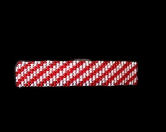 Red and White Seed Bead Barrette, Beaded Hair Clip, French Clip Barrette, Handmade Hair Accessory, Glass Seed Bead Striped Barrette