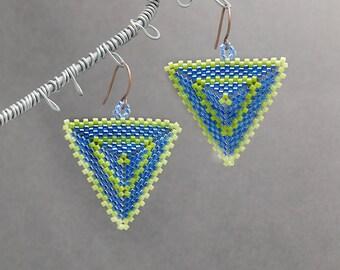 Seed Bead Earrings, Blue Earrings, Triangle Earrings, Beaded Jewelry, Geometric, Gift Idea