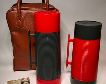 Vintage Aladdin Thermos Lunch Picnic Set Gray Red Coffee Tea Wide Mouth Thermos Soup Hot Lunch Thermos With Vinyl Bag College Lunch Bag