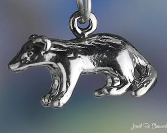 Sterling Silver Badger or Honey Badgers Charm Wild Animal 3D Solid 925