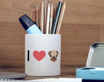 I Love Dogs Emoji Heart Emoji Pencil Pot, Pencil Holder, Pen Pot, Pen Holder, Gift Idea, Children Gift, PP014