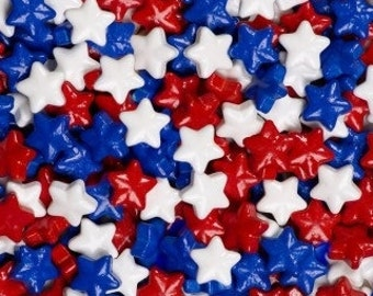 """Red, White, & Blue Candy Stars """"Cake/Cupcake/Cookie Decorations"""""""