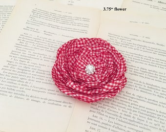 Red Gingham Hair Clip.Red Gingham Brooch.Flower pin.Hair Accessory.July 4th.fascinator.Hair Piece.Red White Gingham Flower.Flower Girl
