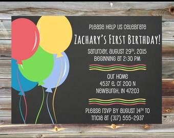 Chalkboard Balloon First Birthday Invitation - Custom Printable First Birthday Invitation - Birthday Balloon Theme Birthday Party Invitation