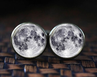 Full Moon cufflinks, Space cufflinks, Galaxy cufflinks, Moon cufflinks, Lunar cufflinks, Planet cufflinks, glass dome cuff links
