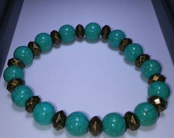 Turquoise and Bronze Chunky Beaded Bracelet Beads Blue Green Bluegreen Gift Present