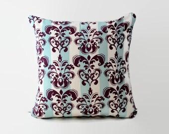Fleur de lis pillow. Decorative pillow. Blue and purple cushion. 18x18 pillow. Shabby chic pillow. Throw pillow. Nursery decor. Pillow sham.