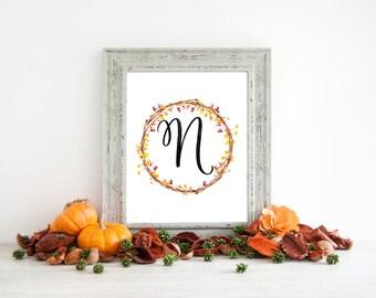 Digital Download - Monogram letter N print - Letter Print - Floral Monogram - Initial Print - Wreath Initial Print - Letter N print - Wreath